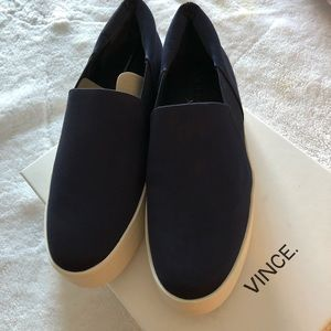 Vince Warren Navy Satin Slip On Sneakers Size 8